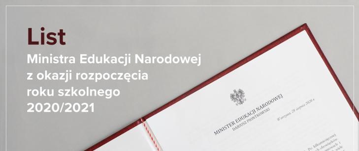 List Ministra Edukacji Narodowej zokazji rozpoczęcia roku szkolnego 2020/2021