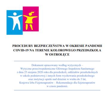 """Procedury bezpieczeństwa wokresie pandemii COVID-19 naterenie """"Kolorowego Przedszkola"""" wOstrołęce"""