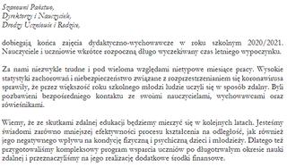 List Ministra Edukacji iNauki nazakończenie roku szkolnego 2020/2021